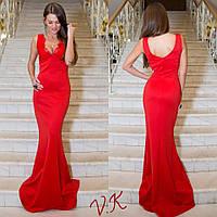 Женское стильное вечернее платье в пол с отделкой из кружева (3 цвета)
