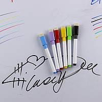 Маркеры цветные на водной основе (набор 6 шт.) с магнитом, стирающиеся, для планов и заметок