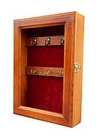 Ключница настенная деревянная 21х30см со стеклом и бархатом
