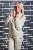 Махровая женская пижама на молнии теплая