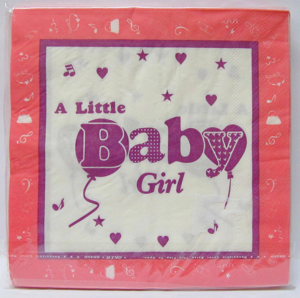 Салфетки бумажные праздничные Baby Girl