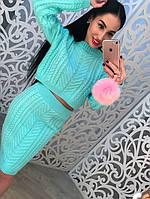 """Женский, вязаный, костюм с юбкой модного фасона """"Укороченный свитер + юбка карандаш, вязка коса"""" РАЗНЫЕ ЦВЕТА"""