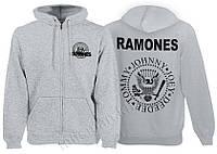 RAMONES - лого - меланжевая - рок-толстовка на молнии