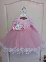Нежное нарядное платье на девочку с пышной фатиновой юбкой и кружевной отделкой