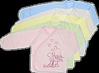 Распашонка теплая, однотонная для новорожденного на кнопках, футер, ТМ Алекс, р. 56, 62