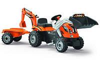 Трактор педальный с прицепом и двумя ковшами Builder Max Smoby 710110