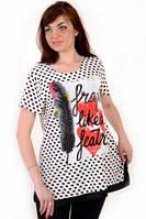 Блуза-туника ,женская, одежда для полной молодежи , большие размеры , блуза в горошек,(БЛ 1208) .