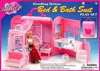 Мебель для кукол Gloria 9988 спальня с ванной комнатой в чемоданчике