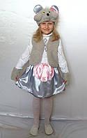 Детский новогодний костюм для девочки Мышка серый от 3 до 7 лет