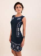 Темно-синие платье вышито гладью