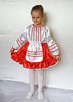 Детский карнавальный костюм для девочки Украинка с узким кружевом белый / красный от 3 до 7 лет