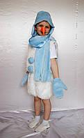 Детский новогодний костюм для мальчика Снеговик искусственный мех белый / голубой 2 от 3 до 7 лет