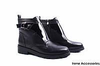 Ботинки женские кожаные Balidoner (ботильоны, каблук, нат. мех, черные, антискользящая подошва)