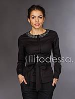 Блуза с поясом черный