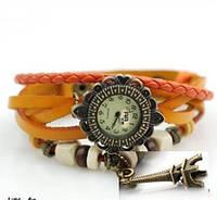 """Женские часы с кожаным ремешком под старину с брелком """"эйфелева башня"""" (оранжево-красные),  лучшие женские часы"""