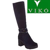 Сапоги женские Viko (стильные, замшевые, роскошный синий цвет, оригинальная пряжка)