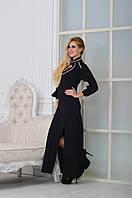Шикарное длинное черное платье батал,с белой тесьмой. Арт-9002/72