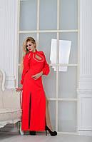 Шикарное длинное красное  платье батал,с белой тесьмой. Арт-9002/72