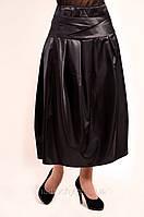 Юбка женская (Ю 042-1), атлас , большие размеры длинная ,по щиколотку , 48,50,52,54, нарядная .