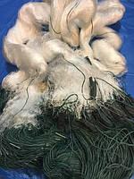 Сеть рыболовная трехстенная(порежная) 3м высота 100м, груз вшит ячейка 35 фирма KAIDA усиленная леска!!