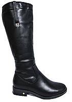 Зимние женские черные сапоги на низком каблуке. Натуральная шерсть