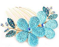 Заколка-гребешок для волос с голубыми камнями