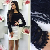 Женское платье Миранда черный кружевной верх и белый низ