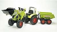 Трактор педальный Falk FAL с ковшом и прицепом  зеленый