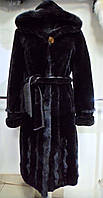 Шуба из мутона с норкой  коричневая с капюшоном длина 110см 48р 50р 52р 54р 56р 58р