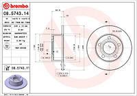 Диск тормозной задний Audi 100/A6 | Ауди 100/А6, C4 - Brembo 08.5743.14