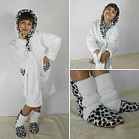 Набор для девочки тёплый махровый халат с сапожками Код 035,Турция