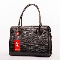 Деловая модельная сумочка в лаковом питоне