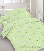 Комплект постельного белья TM Nostra Бязь Голд салатовый с белыми цветами Двуспальный евро комплект