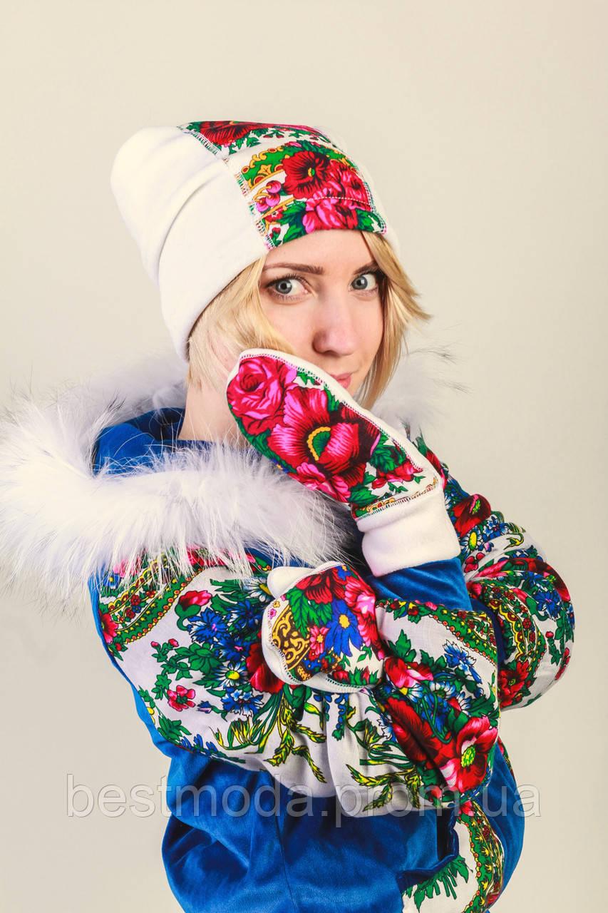 Комплект шапочка+рукавички стиле Матрешка