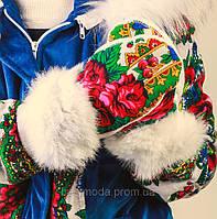 Варежки в стиле Матрешка с мехом кролика