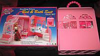 Кукольная мебель Глория Gloria 9988 Будуар Deluxe спальня с ванной комнатой в чемоданчике