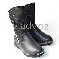 Зимние кожаные сапоги для девочки серые 1 застёжка 30р.