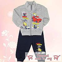 Детские утеплённые костюмы с машинками от 1 до 3 лет (4874-2)