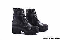 Ботинки женские кожаные Mario Muzi (ботильоны, каблук, нат. мех, черные, антискользящая подошва, Турция)