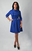 Модное молодежное платье на застежке синего цвета