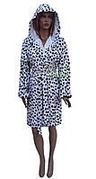 Короткий женский халат черно-белый с капюшоном Vienetta Secret №Долматинец