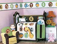 Детский спальный комплект в кроватку Cy 966 Animals  90х115, защита, сатин 100% хлопок ARYA Турция