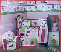 Детский спальный комплект в кроватку  Butterfly для девочек 90х115, сатин, защита, 100% хлопок ARYA Турция