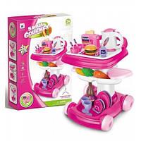 Игровой набор детской посуды W093: тележка, чайник, продукты, тостер, коробка 40х59х14,5 см