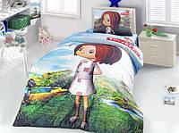 Детское постельное белье полуторное CANAN, ранфорс, голубой, девочка, ALTINBASAK Турция