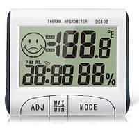 Электронные часы гигрометр термометр с будильником и памятью показаний настольный настенный