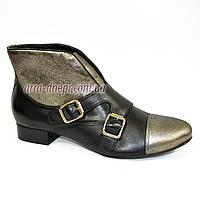 Кожаные женские демисезонные ботинки на невысоком каблуке. В наличии 36-41 размеры, фото 1