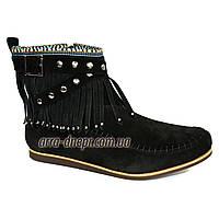 Женские замшевые демисезонные ботинки на плоской подошве.  В наличии 36-41 размеры, фото 1