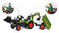 Трактор экскаватор педальный  с прицепом и ковшом  CLAAS ARION 430 Falk зеленый