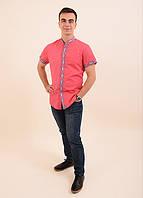 Праздничная мужская сорочка из льна воротник-стойка вышивая геометрическим орнаментом